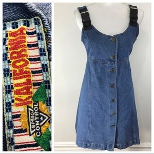 Vintage 90s denim overall dress